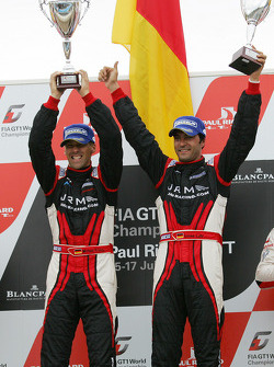 Podium: race winners Michael Krumm and Lucas Luhr