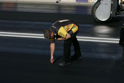 Crews take track readings before each run