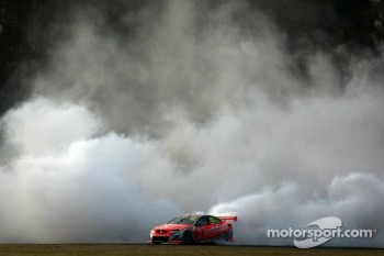 Craig Lowndes dose a celebration burnout