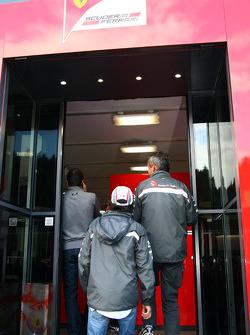 Sergio Perez, Sauber F1 Team goes into the Ferrari motorhome