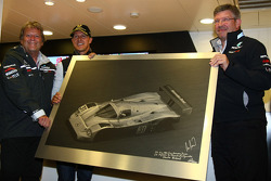 Norbert Haug, Mercedes, Motorsport chief with Michael Schumacher, Mercedes GP F1 Team celebrates his first F1 drive at Spa 20 years ago, and Ross Brawn Team Principal, Mercedes GP