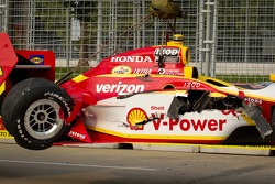 Damaged car of Helio Castroneves, Team Penske