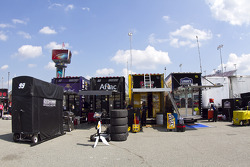 Haulers lined up in the garage area