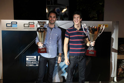 Julian Rowse from MW Arden and James Calado collect their trophies for second in the GP3 Championships