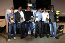 Jules Bianchi, Esteban Gutierrez, Dani Clos and Johnny Cecotto, the GP2 Dallara trophy winners