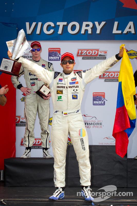 Podium: race winner Gustavo Yacaman, Team Moore Racing