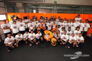 Casey Stoner, Repsol Honda Team, Dani Pedrosa, Repsol Honda Team, Andrea Dovizioso, Repsol Honda Team and Repsol Honda team members celebrate 100th victory of Repsol Honda in MotoGP