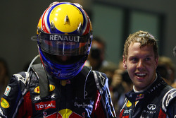 Race winner Sebastian Vettel, Red Bull Racing with Mark Webber, Red Bull Racing