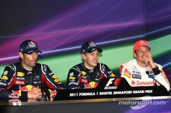 Press conference: race winner Sebastian Vettel, Red Bull Racing, second place Jenson Button, McLaren Mercedes, third place Mark Webber, Red Bull Racing