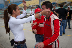 Race winner #22 Ferrari of Ft. Lauderdale Ferrari 458 Challenge: Enzo Potolicchio celebrate with his wife