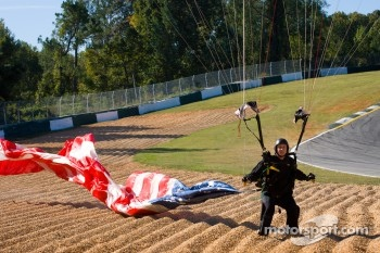 Skydiver brings the American flag