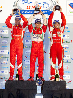 GT podium: class winners Giancarlo Fisichella, Gianmaria Bruni and Pierre Kaffer