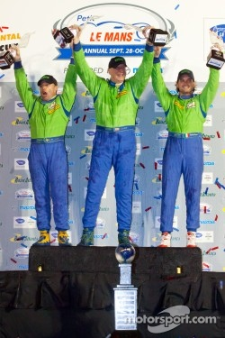 GTE-AM podium: class winners Tracy Krohn, Nic Jonsson and Michele Rugolo