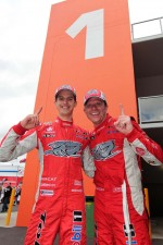 Race winners Garth Tander and Nick Percat celebrate