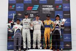 Podium from left: Guilherme Silva, Scott Pye, Kevin Magnussen, Felipe Nasr And Kotaro Sakurai.