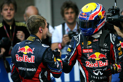 Race winner Sebastian Vettel, Red Bull Racing and third place Mark Webber, Red Bull Racing