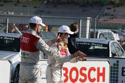 Martin Tomczyk, Audi Sport Team Phoenix, Audi A4 DTM and Mike Rockenfeller, Audi Sport Team Abt, Audi A4 DTM to congratulate Miguel Molina, Audi Sport Team Abt Junior, Audi A4 DTM