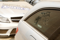 Writing in dust on safety and medical cars