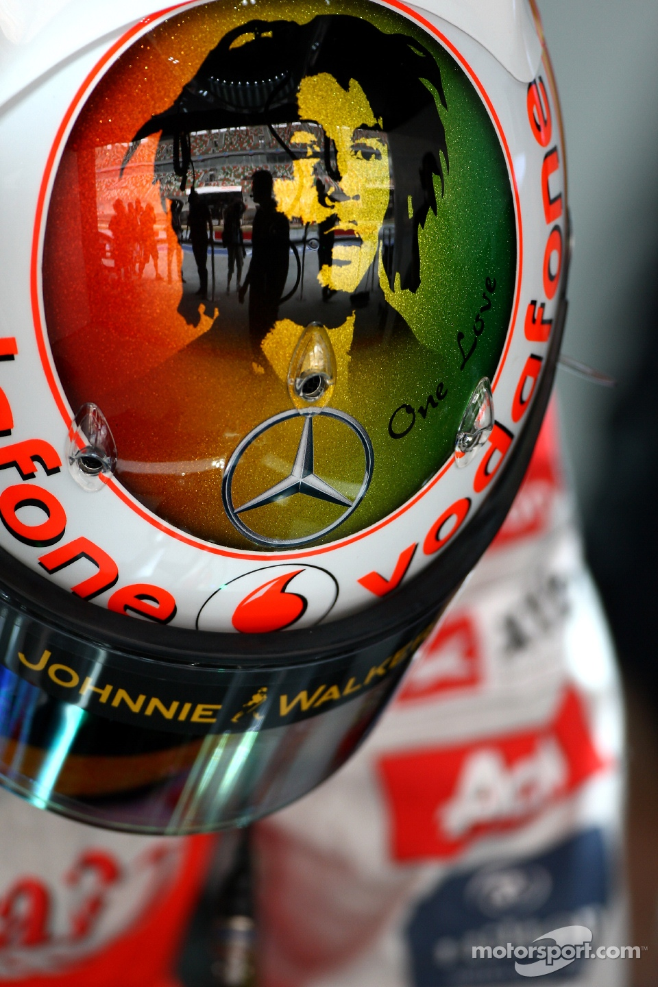 Lewis Hamilton, McLaren Mercedes new helmet with Bob Marley