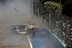 Start: the #23 JR Motorsports Nissan GT-R of Lucas Luhr, Michael Krumm involved in a crash