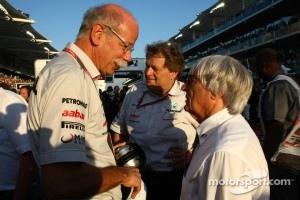 Bernie Ecclestone with Dr. Dieter Zetsche, Chairman of Daimler and Norbert Haug, Mercedes, Motorsport chief
