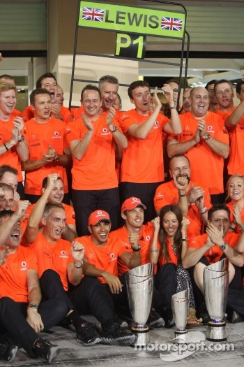 Martin Whitmarsh, McLaren, Chief Executive Officer with Lewis Hamilton, McLaren Mercedes, Jenson Button, McLaren Mercedes and Jessica Michibata girlfriend of Jenson Button