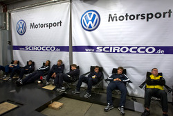 Volkswagen Motorsport team members relax