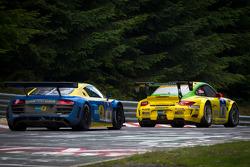 #18 Manthey Racing Porsche 911 GT3 RSR: Marc Lieb, Lucas Luhr, Romain Dumas, Timo Bernhard, #14 Audi Sport Team Phoenix Audi R8LMS: Marc Basseng, Marcel Fässler, Frank Stippler