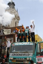 Podium: sixth place in truck category Miki Biasion, Giorgio Albiero, Michel Huisman