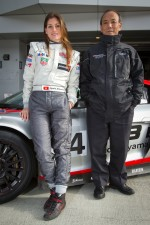Cyndie Allemann poses with Hitotsuyama Racing team owner Mikio Hitotsuyama
