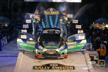 Podium: winners Jari-Matti Latvala and Miikka Anttila, Ford World Rally Team celebrate