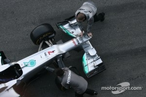 The front wing of the new Mercedes