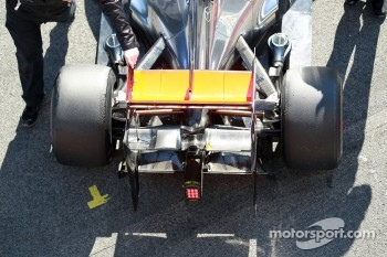 Lewis Hamilton, McLaren Mercedes rear wing and suspension