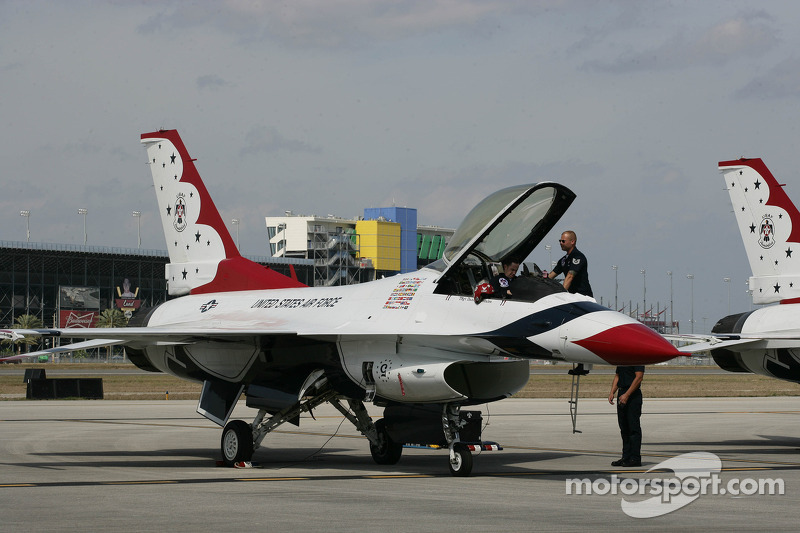 The USAF Thunderbirds practice at Daytona International Speedway