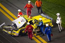 Jason Leffler, Kyle Busch Motorsports Toyota after the crash