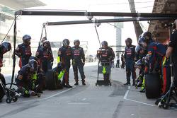 The Toro Rosso team await Jean-Eric Vergne, Scuderia Toro Rosso for a pit stop