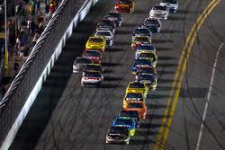 Denny Hamlin, Joe Gibbs Racing Toyota leads the field