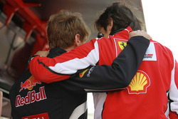 Sebastian Vettel, Red Bull Racing with Massimo Rivola, Scuderia Ferrari  Sporting Director