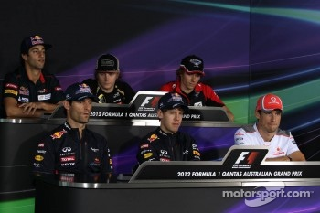 Press conference, Daniel Ricciardo, Scuderia Toro Rosso, Kimi Raikkonen, Lotus F1 Team, Charles Pic, Marussia F1 Team, Jenson Button, McLaren Mercedes, Mark Webber, Red Bull Racing and Sebastian Vettel, Red Bull Racing