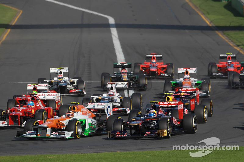 Nico Hulkenberg, Sahara Force India Formula One Team and Jean-Eric Vergne, Scuderia Toro Rosso