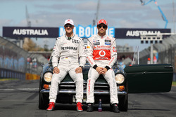 Michael Schumacher, Mercedes GP and Jenson Button, McLaren Mercedes