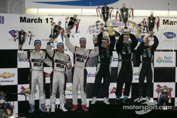 ALMS P1 podium: first place Chris Dyson, Guy Smith, Steven Kane, second place Lucas Luhr, Klaus Graf, Simon Pagenaud