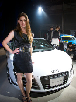 Audi R8 GT Spyder launch event in Tokyo: Cyndie Allemann poses with the Audi R8 GT Spyder