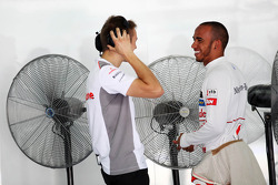 Lewis Hamilton, Mclaren Mercedes with his trainer Antti Vierula