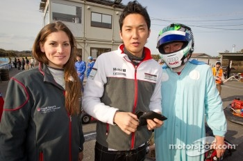 Go-kart charity event: Cyndie Allemann, Tomonobu Fujii and Michael Kim