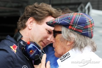 Christian Horner, Red Bull Racing Team Principal talks with Jackie Stewart