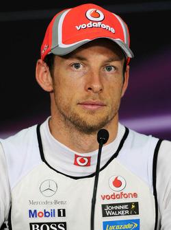 Jenson Button, McLaren Mercedes in the FIA Press Conference