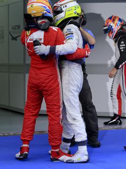 Race winner Fernando Alonso, Scuderia Ferrari and second place Sergio Perez, Sauber F1 Team