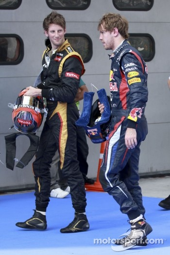 Sebastian Vettel, Red Bull Racing with Romain Grosjean, Lotus F1 Team