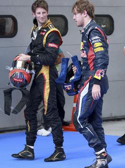 Sebastian Vettel, Red Bull Racing with Romain Grosjean, Lotus F1 Team